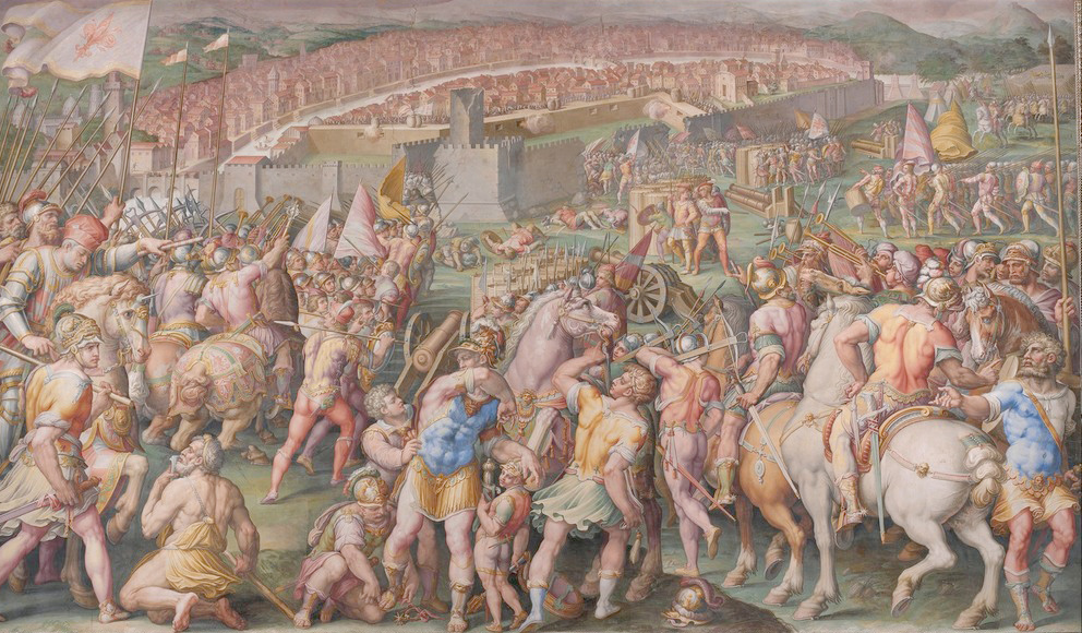 Каталог Аффреско, Жанровые сценыДжорджо Вазари, The storming of the fortress of Stampace in Pisa | арт. Giorgio Vasari, The storming of the fortress of Stampace in Pisa