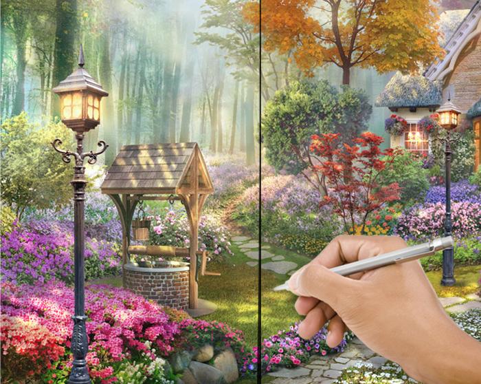1. Разложите полотна на полу в соответствии с рисунком. Состыкуйте рисунок, сделав карандашом отметки для легкого совмещения изображения на стене.