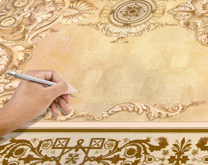 1.Разложите полотно на полу. Отметьте край, с которого планируете начать монтаж.