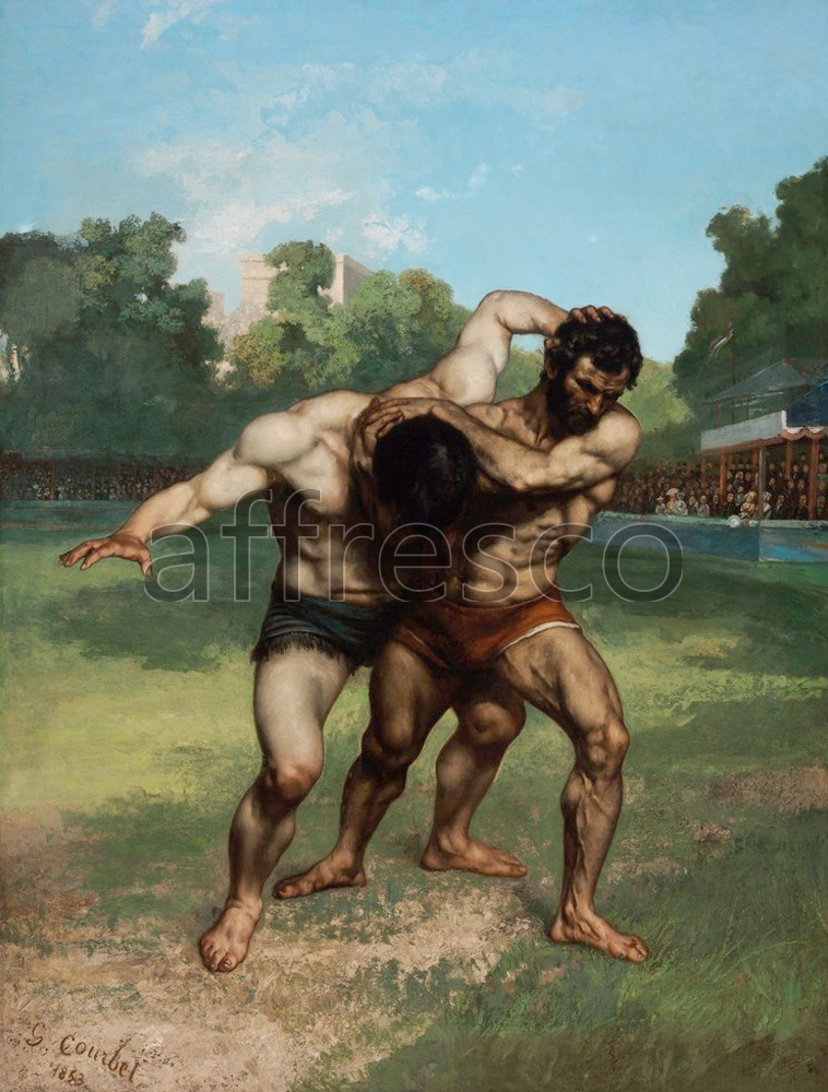 Каталог Аффреско, Жанровые сценыГюстав Курбе, Борцы | арт. Gustave Courbet, The Wrestlers