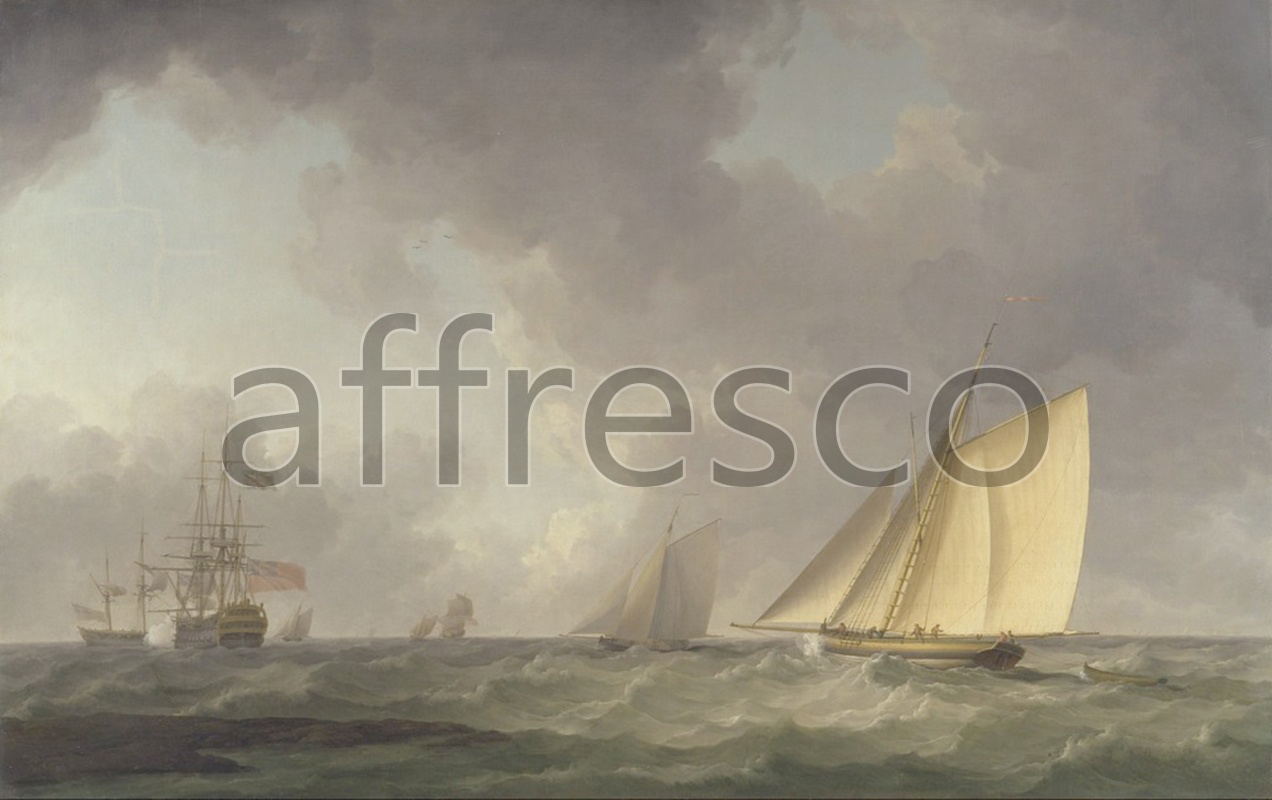 Каталог Аффреско, Морские пейзажиCharles Brooking, Cutter Close Hauled in a Fresh Breeze with Other Shipping | арт. Charles Brooking, Cutter Close Hauled in a Fresh Breeze with Other Shipping