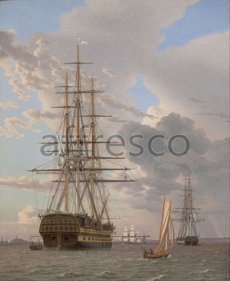 Каталог Аффреско, Морские пейзажиC.W. Eckersberg, The Russian Ship of the Line Asow and a Frigate at Anchor in the Roads of Elsinore | арт. C.W. Eckersberg, The Russian Ship of the Line Asow and a Frigate at Anchor in the Roads of Elsinore