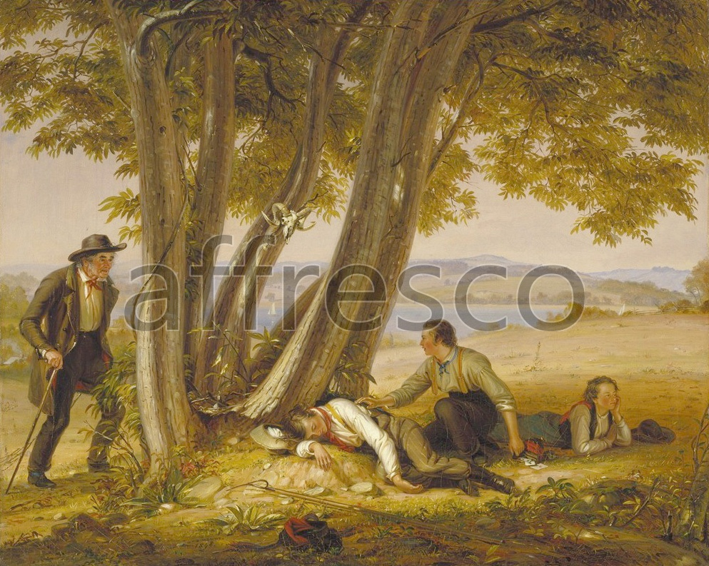 Каталог Аффреско, Жанровые сценыУильям Сидней Маунт, Caught Napping Boys Caught Napping in a Field  | арт. William Sidney Mount, Caught Napping Boys Caught Napping in a Field