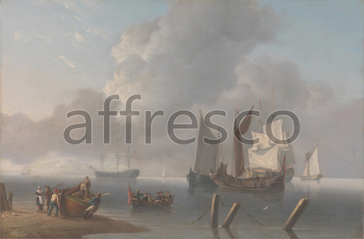 Каталог Аффреско, Морские пейзажиCharles Martin, Powell Warships Lying Offshore the Commanding Admiral Being Rowed out to Join the Flagship | арт. Charles Martin, Powell Warships Lying Offshore the Commanding Admiral Being Rowed out to Join the Flagship