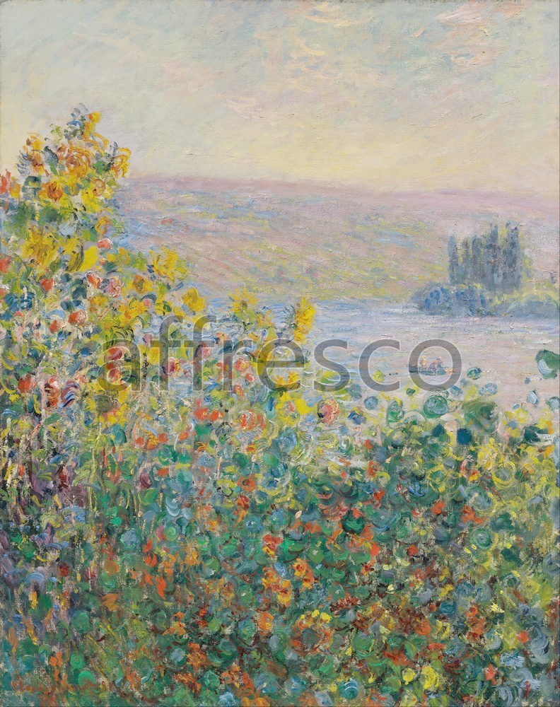 Каталог Аффреско, Импрессионисты и постимпрессионистыКлод Моне,  Flower Beds at Vetheuil | арт. Claude Monet, Flower Beds at Vetheuil